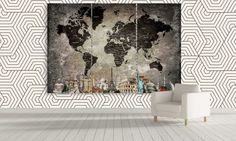 LARGE Modern World Map Canvas Decor / Extra by CanvasFactoryCo
