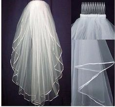 2 Tier shoulder Elbow Length Veil with satin trim and by MyaKi, $35.00