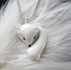 kitsune glass lucky fox necklace by houseofv on Etsy, $10.00