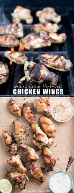 Looking for a crispy chicken wing that doesn't require deep frying or hours in the oven? Look no further, these Citrus Herb-Salt Chicken Wings only take 7 minutes aside on the grill. They also make the perfect appetizer for parties and the perfect game da Turkey Dishes, Turkey Recipes, Meat Recipes, Paleo Recipes, Chicken Recipes, Chicken Meals, Quick Easy Meals, Easy Dinner Recipes, Picnic Recipes