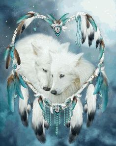 Never underestimate the Tenderness Affection Loyalty Love Beating within the Heart Of A Wolf. Heart Of A Wolf prose. This artwork of white wolf mates within a heart-shaped dream catcher is from the Dream Catcher Collection Beautiful Wolves, Animals Beautiful, Beautiful Artwork, Beautiful Creatures, Native Art, Native American Indians, Wolf Mates, Wolf Dreamcatcher, Wolf Spirit Animal
