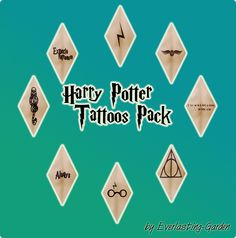 Harry Potter Tattoos Pack This afternoon, I was making a Sims inspired by my man and realized the game would not have an essential part of him: the Dark Mark from the HP universe! So I did it myself,...