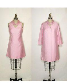 60's Pink Shantung Cocktail Party Dress Jacket Set XS, $72