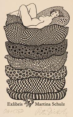Ex Libris by Peter Dietzsch for Martina Schulz. Ex Libris, Princess And The Pea, Book Of Kells, Linoprint, Art Graphique, Linocut Prints, Illustrations, Erotic Art, Printmaking