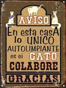 cartel de chapa vintage retro gato autolimpiante l323