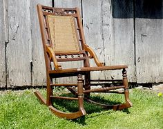 Antique Eastlake Wooden Rocking Chair Caned Seat and Back Victorian Home Decor