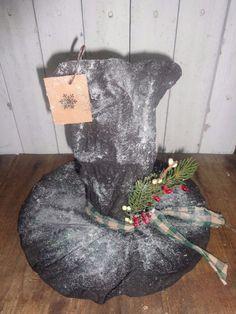 Primitive Grungy Snowman Hat Tree Topper Christmas Holiday Handmade #NaivePrimitive #handmade