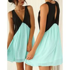 Plunging Neck Sleeveless Color Block Hollow Out Chiffon Women's Dress