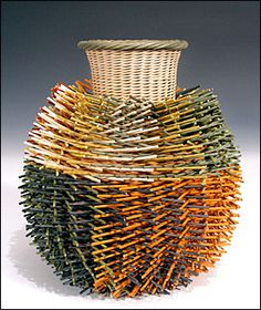 Handwoven, contemporary basket, by Kari Lonning