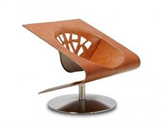 ASCOT Tanned leather armchair, design by Jean-Pierre Audebert
