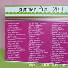 Summer activities list