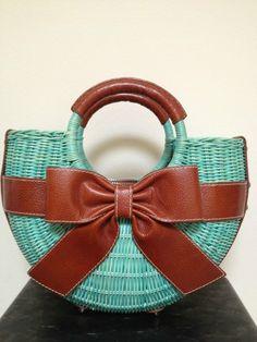 Isabella Fiore Wicker Handbag in  turquoise