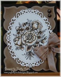 handmade card .. vintage look ... kraft, white and browns ... like the beautiful bouquet stamped and partially colored in browns ... beautiful!!