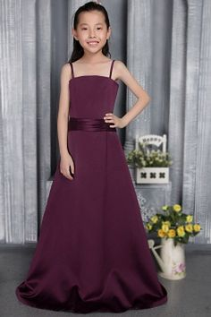 Purple Satin Spaghetti Strap Flower Girl Dresses - Order Link: http://www.theweddingdresses.com/purple-satin-spaghetti-strap-flower-girl-dresses-twdn1047.html - Embellishments: Sash; Length: Floor Length; Fabric: Satin; Waist: Natural - Price: 67.12USD