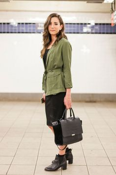 Subway Stalking: Spring Edition! #refinery29  http://www.refinery29.com/nyc-subway-street-style-pictures#slide-17  Name: Dafne Regenhardt Job: Graduate student What She's Wearing: Topshop dress and jacket, and a Prune bag.Spotted On: The F trainChange up the classic LBD by adding a colorful coat, like this army green number.
