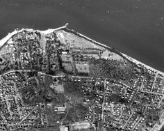 """1966. Evan's parents sued Mona three times to tone down the development. The Charles house, Green Hithe, was due west of the estate. Note the golf course near the beach, and the large greensward leading to the torn-down """"big house."""" Matinecock Indians held ceremonial rituals here, and their spirits pervade the property. Many mysterious doings hereabouts are recorded in CIRCUS. Once a luminous parcel of land, it is now lost to the ages. Suffolk County, Historic Houses, You Know Where, Wishing Well, Nassau, Big Houses, North Shore, Gold Coast, City Photo"""