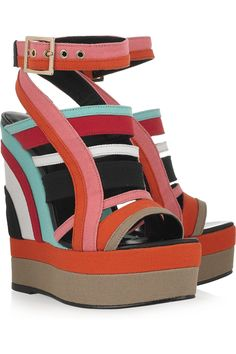 Pierre Hardy Canvas Wedge Sandals in Multicolor | Lyst