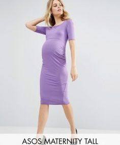 ASOS Maternity TALL Bardot Dress with Half Sleeve - Purple. Tall Clothing and larger sized shoes for Tall Men and Women at PrettyLong.com