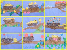 N is for Nest, Spring, nature, shapes, lines colors Kindergarten Art Lessons, Easter Art, First Grade Classroom, Arts Ed, Mother And Father, Nests, Teaching Art, Bird Feathers, Art Education