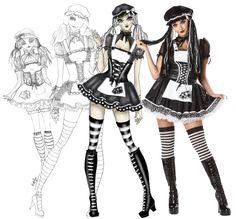 Black and White Dreadful Rag Doll Costume