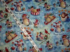"""Christmas fabric with snowmen peppermint glitter Snow angel cotton print quilt quilting sewing material  to sew 35"""" x 43""""  #christmas, #fabric, #snowmen, #peppermint, #cotton, #quilt, #sewing, #material, #etsy, #glitter, #remnant, - pinned by pin4etsy.com"""