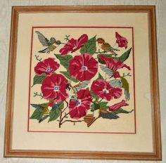 Ornithology Needlepoint Vintage Antique Hibiscus Flowers Tropical Hummingbirds | eBay