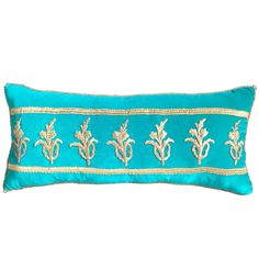 Antique Ottoman Empire Raised Gold Metallic Motifs Pillow   From a unique collection of antique and modern pillows and throws at https://www.1stdibs.com/furniture/more-furniture-collectibles/pillows-throws/