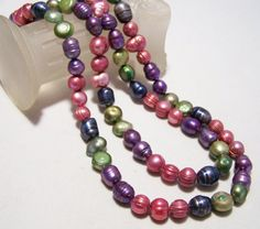 Pink Purple Green Cultured Pearl 37 In by GretelsTreasures on Etsy