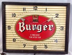 Vintage Burger Beer Advertising Clock Cincinnati 1950s Bar Pub Tavern As-is
