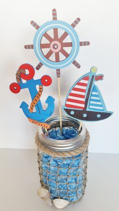 If I can't do diaper center pieces Nautical Baby Shower Table Centerpiece by LilLoveBugsCreations 1st Birthday Centerpieces, Baby Shower Table Centerpieces, Baby Shower Decorations For Boys, Boy Baby Shower Themes, Baby Shower Parties, Baby Boy Shower, Baby Shower Gifts, Jar Centerpieces, Table Decorations