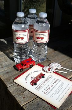 Vintage fire truck water bottle labels, invitation and cupcake toppers