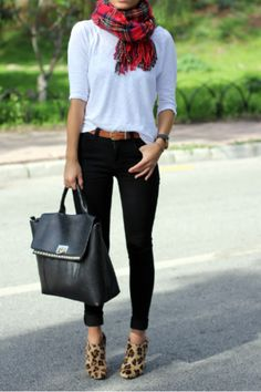 scarf, black, white and leopard booties...so cute.