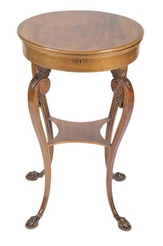 A round Italian Neoclassical sewing table with fitted interior. Circa H x 19 Diam Sewing Table, Neoclassical, Design Projects, Interior Design, Lighting, Furniture, Home Decor, Style, Nest Design
