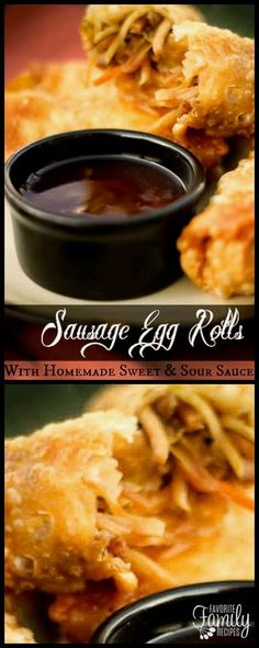 This Sausage Egg Rolls with Homemade Sweet and Sour Sauce recipe rivals anything you can get a Chinese restaurant. They make a great appetizer or main dish. via Favorite Family Recipes Sausage Recipes, Pork Recipes, Asian Recipes, Chinese Recipes, Family Recipes, Chinese Food, Asian Foods, Thai Recipes, Yummy Recipes