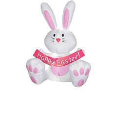 4 Foot Happy Easter Bunny Airblown Inflatable | Easy Easter Decor Ideas for the Home | Easy Easter Decorations for Kids