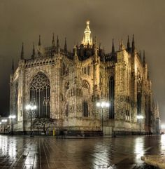 Here is a fantastic shot showing the east facade of the Duomo di Milano at night.  Beautiful!