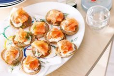 Buckwheat blinis with smoked salmon and dill cream