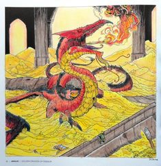 Beasts of Tolkien - Smaug Coloured with Polychromos