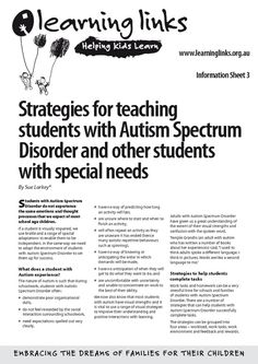 Strategies for teaching students with Autism Spectrum Disorder and other students with special needs