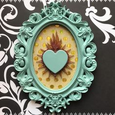 Ex voto picture, sacred heart wall art, oval frame, pastel blue and gold Mexican Folk Art, Mexican Style, Crafts To Do, Arts And Crafts, Heart Wall Art, Tin Art, Humming Bird Feeders, Letter A Crafts, Oval Frame