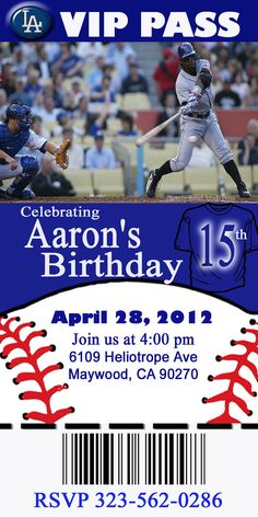 Baseball Theme Party Printable Invitations, One Hour Printable Photo Card, DIY Birthday Cards, via Etsy.