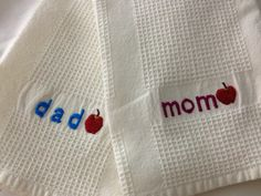 Hand stitched Anniversary gift on ready made tea towel. stitchbyrachel