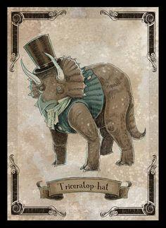 Triceratophat 8x10 steampunk dinosaur art print by theGorgonist