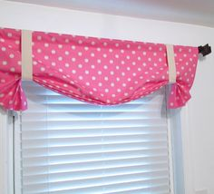 Tie Up Curtain Valance Ikat Dots Pink Natural POLKA DOT Window Treatments Handmade in USA by supplierofdreams on Etsy https://www.etsy.com/listing/196632513/tie-up-curtain-valance-ikat-dots-pink