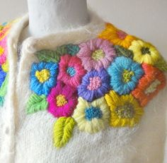 puffy crewel + colors [embroidered cardigan ]