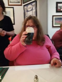 Having a pint of Guinness