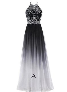 de019b2a8600 Black and White Gradient Long Halter Beaded Chiffon Party Dress