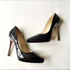 """Jimmy Choo Snakeskin Pumps Stunning Jimmy Choo black patent leather snakeskin pumps.                                 Condition: Excellent pre-worn (worn twice). Tiny scuff on front of one of the pump (pictures). No box. Measurements: front platform 1/2"""", 4.5"""" heel Size: 38.                                                                  Reasonable offers welcome! Bundle discount available!(15% off 2+ items) No trades/off Posh transactions/modeling. Jimmy Choo Shoes Heels"""