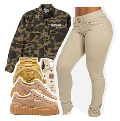 """""""90210 x travis scott"""" by babygirlnia14 ❤ liked on Polyvore featuring Puma, MCM and Rolex"""
