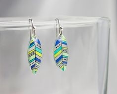 Striped Feather Plastic Earrings by LauraBolterDesign on Etsy $12.00